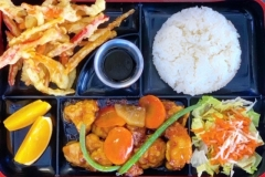 CHICKEN TEMPURA TERIYAKI BENTO BOX - our lunch special. It's tempura, salad, rice & fruit. we can do Beef tempura teriyaki also. Available Monday-Friday from 11AM-2PM