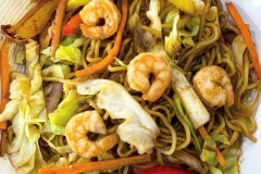 YAKISOBA SHRIMP -  Ichiban Specialty Stir fried vegetables & noodles with our house special yakisoba sauce.  We have choices of: shrimp, beef, chicken, vegetables or ALL MEAT!