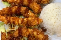COCONUT SHRIMP - our dinner specials. Served with house salad and miso soup.